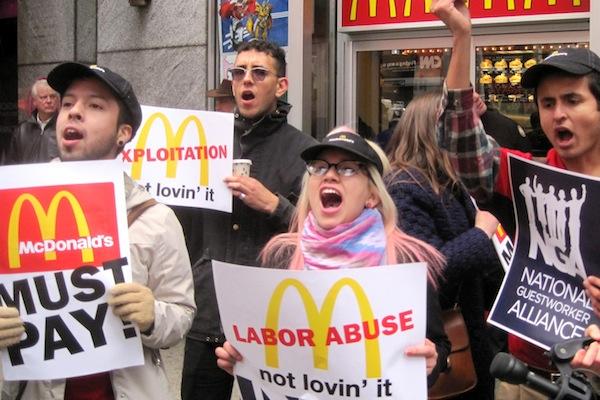 mcdonald's, strike, protest, fair labor