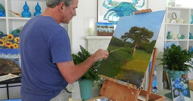 george w bush, paintings, art, dallas